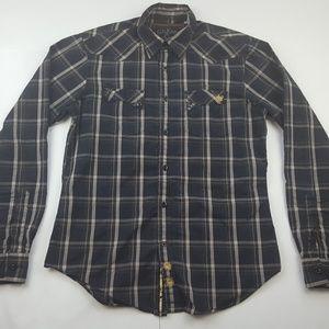 Guess Gold Line Checkered Long Sleeve Shirt